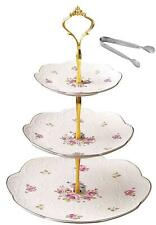 Jusalpha 12-Inches Rose Series Ceramic Decorative Cake Stand-Cupcake Stand With