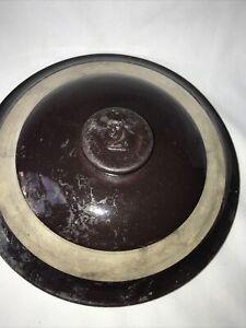 Antique Stoneware Salt Glaze Crock Lid 10' Pottery Primitive