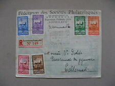 LUXEMBOURG, event R-cover 1936, stamps FIP-congress, spec R-label Phil. Expo