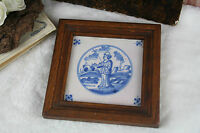 Antique 1850 Delft Ceramic Blue painted tile framed dutch