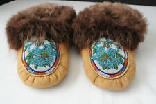 Circa 1996 Pair of Beaded Adult Moccasins with Beaver Fur Trim by Fannie Henry