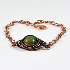 Women'S Green Agate Crystal Bead Bracelet Antiqued Copper Wire Wrapped Gemstone