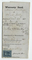1862 warranty deed with 10 cent certificate revenue Worcester MA R33 [y5747]