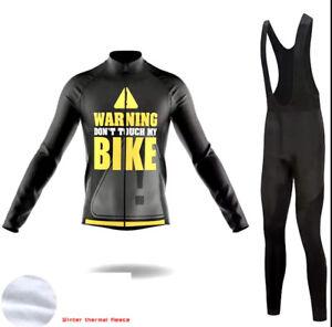 Women's Winter Thermal Fleece Cycling BIBS Set - Warning! Don't Touch My Bike