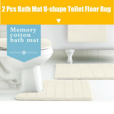 2 Piece Bathroom Rug Bath Mat Foam Bath Mat Ushape Toilet Floors Rug^,