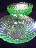 BAGLEY ART DECO GREEN URANIUM GLASS large fruit bowls x four 21 cm across rims