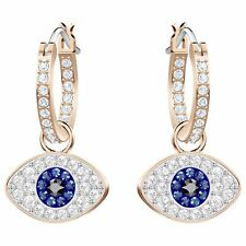 Swarovski Duo Evil Eye Hoop Pierced Earrings, Multi-colored, Rose gold 5425857