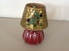 Iced Evergreen Candle & Christmas Tree Mosaic Shade Home Interiors Gifts Gtc