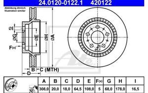 ATE Juego de 2 discos freno Trasero 308mm ventilado para VOLVO XC 24.0120-0122.1