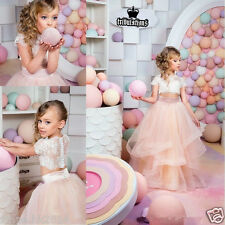 Lace Flower Girl Dress Kid Formal Gown Birthday Party Pageant Bridesmaid Wedding