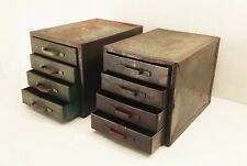 Vtg deco metal industrial factory bolt small parts storage bin cabinet 4 drawer