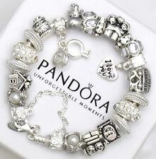"Authentic Pandora Silver Bracelet ""Love Story"" Wedding  European Charms New"