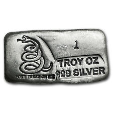 1 oz Silver Bar - Don't Tread On Me (PG&G) - SKU #101743