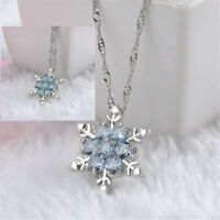Women Fashion Blue Crystal Snowflake Flower Silver Pendant Necklace Xmas Gift
