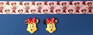 MINNIE MOUSE EXPLOSION Hair Bow Supplies Kit - 2 yd Ribbon 2 Flatback Resin SALE