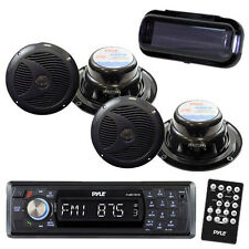 New Marine Boat AM/FM SD USB Player With Wireless Bluetooth 4 New Speakers Cover