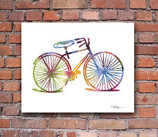Vintage Bicycle Abstract Watercolor Bike Painting Art Print by Artist DJ Rogers