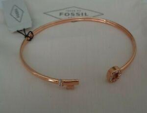 BNWT Fossil Rose Gold Crystal Key & Lock Open Bangle Cuff Bracelet