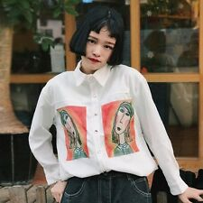 Lady Corduroy Shirt Patched Boyfriend Long Sleeve Loose Button Autumn Blouse Top