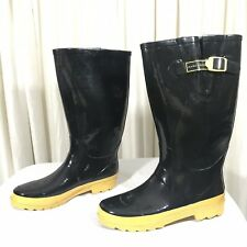 Marc Jacobs Rain Boots Black & Yellow Classic Rubber Size 41/10