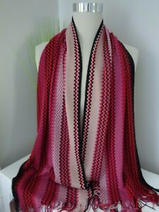 BNWT Missoni Red Pink Multi Pattern Wool Blend Knitted Scarf - Made in Italy