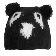 Ladies Black and White Monster Design Beanie Hats - Onesize fits most