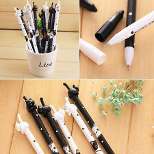 2Pcs Korean Kawaii Fun Black Ink Cat Gel Roller Ball Point Pen Stationery Gift