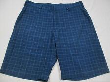 Walter Hagen Mens Golf Shorts, Size 34 x 10, flat front, blue plaid