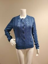 NWT Brooks Brothers Cable Knit Cardigan Sweater Blue M