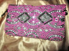 hot pink  / black clutch Purse Beaded New metal chain strap  Party time