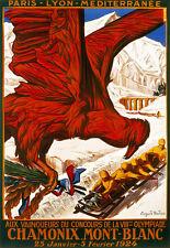 Arte cartel-Chamonix-Mont Blanc - 1924 Viajes Vacaciones Holiday A3 impresión