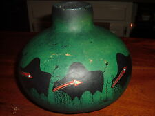 """ROBERT RIVERA SIGNED GOURD  """"BUFFALOS""""  HAND PAINTED TURQUOISE GREEN  STONES"""