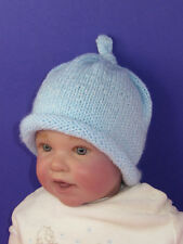 PRINTED KNITTING INSTRUCTIONS-BABY ROLL BRIM TOPKNOT BEANIE KNITTING PATTERN
