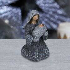 Wood Carved Effect Grey Mary &  Baby Jesus Figurine