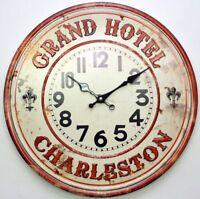 Retro Vintage Grand Hotel Design 40CM Metal Round Shabby Chic Wall Clock.New