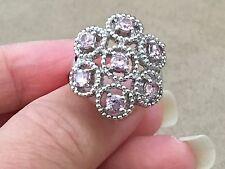 Pink Quartz Sterling Silver 925 Ring - Size 6