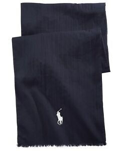 POLO RALPH LAUREN Men's Big Pony Logo 100% Cotton Classic Scarf Blue NEW $75