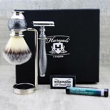 CLASSIC SHAVING SET - DE Safety Razor & Synthetic Brush with stand Ready to Use