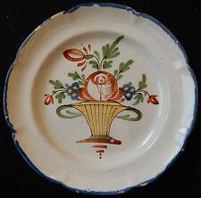 N89) Assiette ancienne FAÏENCE DE L'EST ou du NORD décor floral