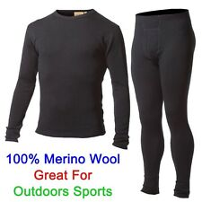 Men 100% Merino Wool Outdoors Sport Base Layer Thermal Warm Underwear Winter Set