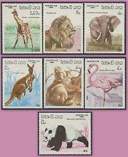 LAOS N°685/691** Animaux Girafe Elephant Kangourou panda ...1986, Sc#707-713 MNH