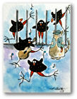 Original Miniature ACEO Dollhouse Art Crazy Crows Jail House Painting by LBetz
