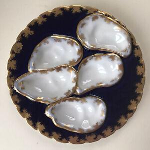 Antique French Haviland Limoges Porcelain Oyster Plate, Blue White & Gilt, a.f