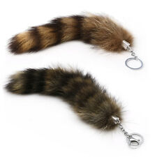 Faux Large Raccoon Tail Fur Keychain Key Ring Tassel Chain HandBag Tag Charm New