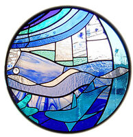 Framed Print - Circular Seaside Stained Glass Window (Picture Poster Art Beach)