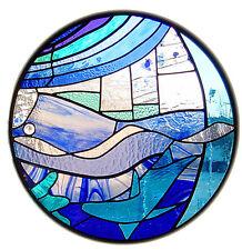 Incorniciato stampa-Circolare Seaside Stained Finestra di vetro (foto poster arte BEACH)