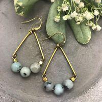 Rose Valley Dangles Mint Green Kiwi Jasper & Brass Teardrop Geometric Earrings