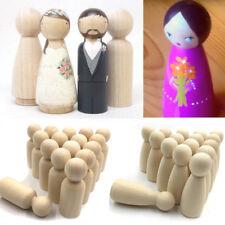 40Pcs Female Male Wooden Peg Dolls Figures Wedding Decor Cake Toppers DIY Toys