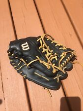 Wilson A950 Adult Leather Baseball Glove 11.75� Broken In Used Infield Black