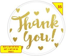 70 Thank You Labels Stickers Gift sweet Cone Bags NON PERSONALISED